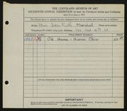 Entry card for Marshall, Ida Ruth for the 1934 May Show.