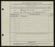 Entry card for McLelland, Ronalda for the 1934 May Show.
