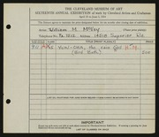 Entry card for McVey, William Mozart for the 1934 May Show.
