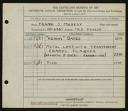 Entry card for Medesy, Frank S., and Bates, Kenneth F. for the 1934 May Show.