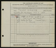 Entry card for Mihalik, Julius for the 1934 May Show.