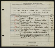 Entry card for Miles Studio, and Miles, Elizabeth B.; Miles, Eugene R. for the 1934 May Show.