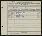 Entry card for Miller, Mary G. for the 1934 May Show.