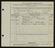 Entry card for Minch, Richard for the 1934 May Show.