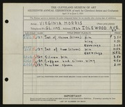 Entry card for Morris, Virginia for the 1934 May Show.
