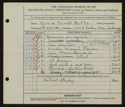 Entry card for Motts, Alicia Sundt for the 1934 May Show.