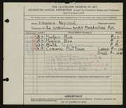 Entry card for Nepodal, Virginia for the 1934 May Show.