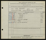 Entry card for Nowak, Leo for the 1934 May Show.