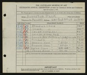 Entry card for Peck, Augustus for the 1934 May Show.