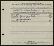 Entry card for Peck, Edith Hogen for the 1934 May Show.