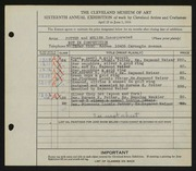 Entry card for Potter and Mellen , and Naukler, Henning; Potter, Horace Ephraim; Potter, Florence Loomis; Weiser, Raymond T. for the 1934 May Show.