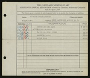 Entry card for Purwin, Sigmund Frank for the 1934 May Show.