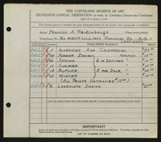 Entry card for Reidenbaugh, Frances for the 1934 May Show.