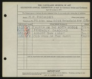 Entry card for Rhoades, M. R. for the 1934 May Show.