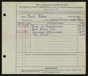 Entry card for Riba, Paul for the 1934 May Show.