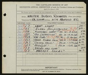 Entry card for Richards, Walter Dubois for the 1934 May Show.