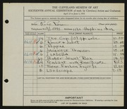 Entry card for Rosen, Rose for the 1934 May Show.
