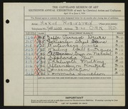 Entry card for Rubinstein, Marion for the 1934 May Show.