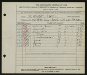 Entry card for Schmidt, Carl for the 1934 May Show.