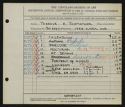 Entry card for Schmotzer, Therese A. for the 1934 May Show.
