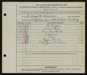 Entry card for Schneider, Dr. Joseph N. for the 1934 May Show.