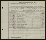 Entry card for Schock, William for the 1934 May Show.
