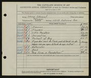Entry card for Schrauf, Leroy J. for the 1934 May Show.