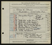 Entry card for Shaw, Elsa Vick for the 1934 May Show.