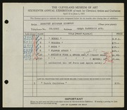 Entry card for Siebold, Dorothy Stieren for the 1934 May Show.