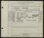 Entry card for Simon, Sidney for the 1934 May Show.