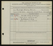 Entry card for Stanley-Brown, R. (Rudolph) for the 1934 May Show.