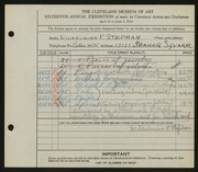 Entry card for Stephan, Wilhelmina P., and Dick, John Albert; Bessemer, J. for the 1934 May Show.