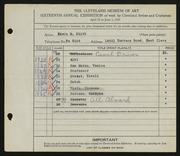 Entry card for Stitt, Edwin M. for the 1934 May Show.