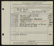 Entry card for Stoll, Rolf for the 1934 May Show.