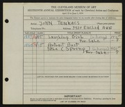 Entry card for Tenkacs, John for the 1934 May Show.