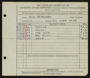 Entry card for Tetalman, Jack for the 1934 May Show.