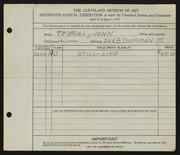 Entry card for Teyral, John for the 1934 May Show.