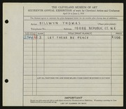 Entry card for Thomas, Dillwyn for the 1934 May Show.
