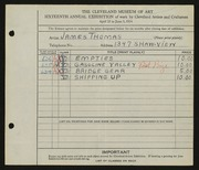 Entry card for Thomas, James R. for the 1934 May Show.