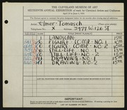 Entry card for Tomasch, E. J. (Elmer John) for the 1934 May Show.