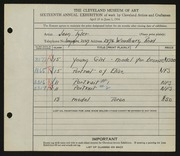 Entry card for Tyler, Jean for the 1934 May Show.