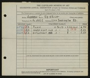 Entry card for Weierich, Andrew Charles for the 1934 May Show.