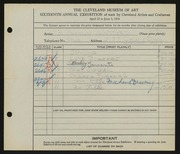Entry card for Whitford, G. Parmly for the 1934 May Show.