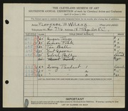 Entry card for Wilcox, Florence Bard for the 1934 May Show.