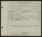 Entry card for David, Adeline Wilkens for the 1934 May Show.