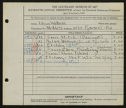 Entry card for Wilkens, Lillian M. for the 1934 May Show.
