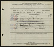 Entry card for Williams, Henry W. for the 1934 May Show.