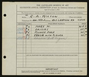Entry card for Wilson, Robert A. for the 1934 May Show.