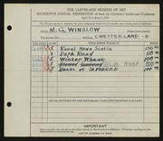 Entry card for Winslow, Morton G. for the 1934 May Show.