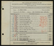 Entry card for Winter, H. Edward for the 1934 May Show.